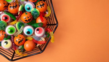 Halloween candy containing sugar and sweeteners