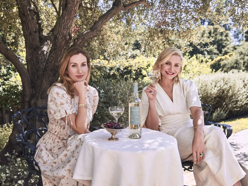 Cameron Diaz and and Katherine Power drinking vegan wine