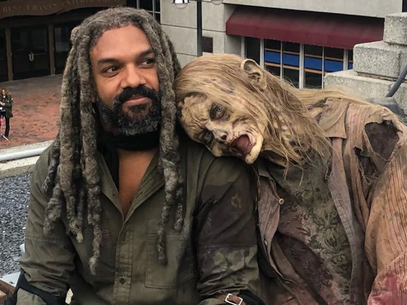 Khary Payton on the set of The Walking Dead