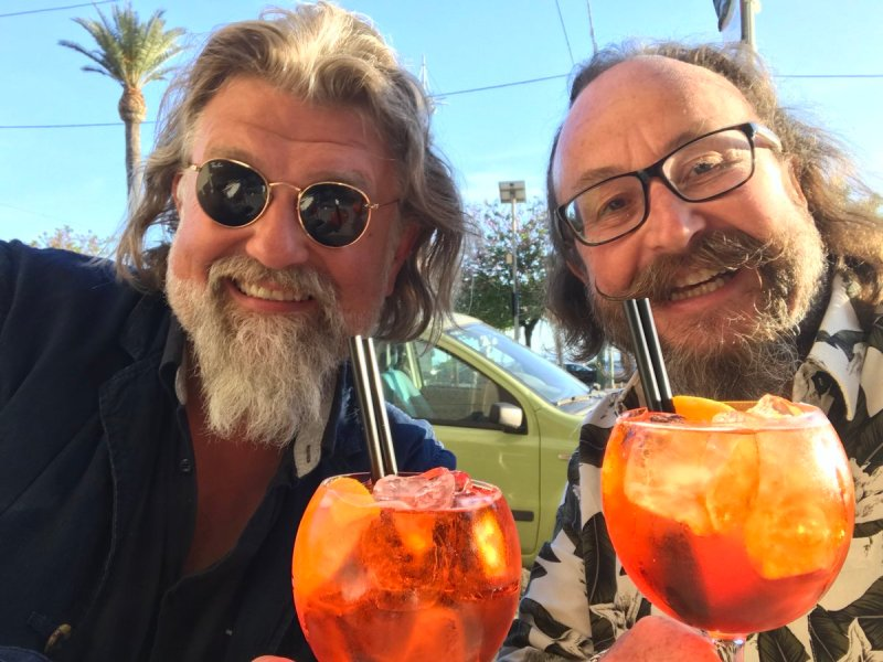 The Hairy Bikers drinking cocktails