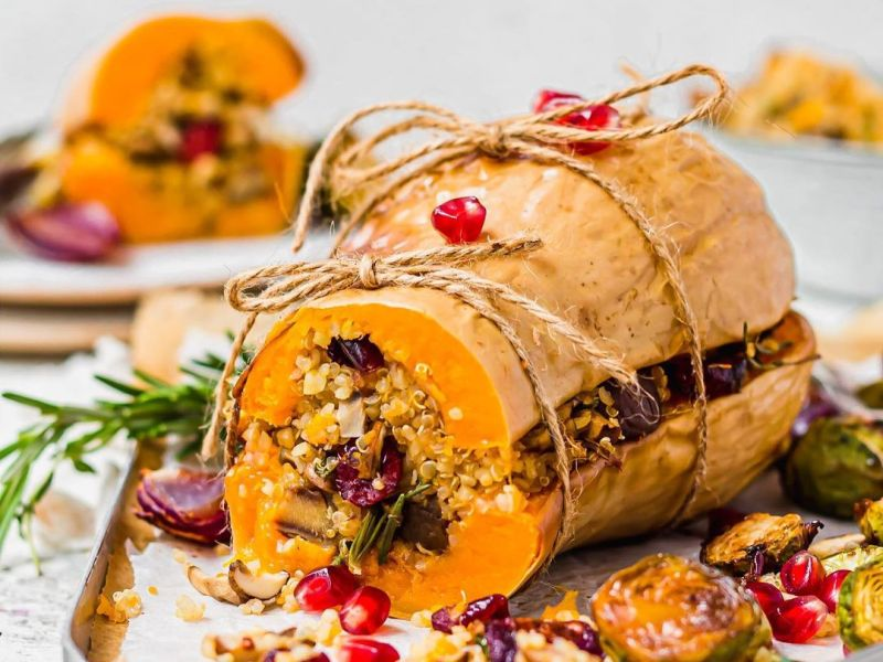 roasted chestnut cranberry stuffed squash