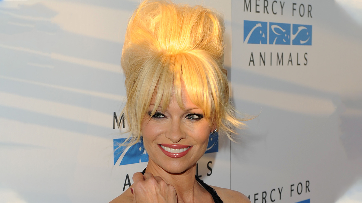Pamela Anderson at an animal rights event