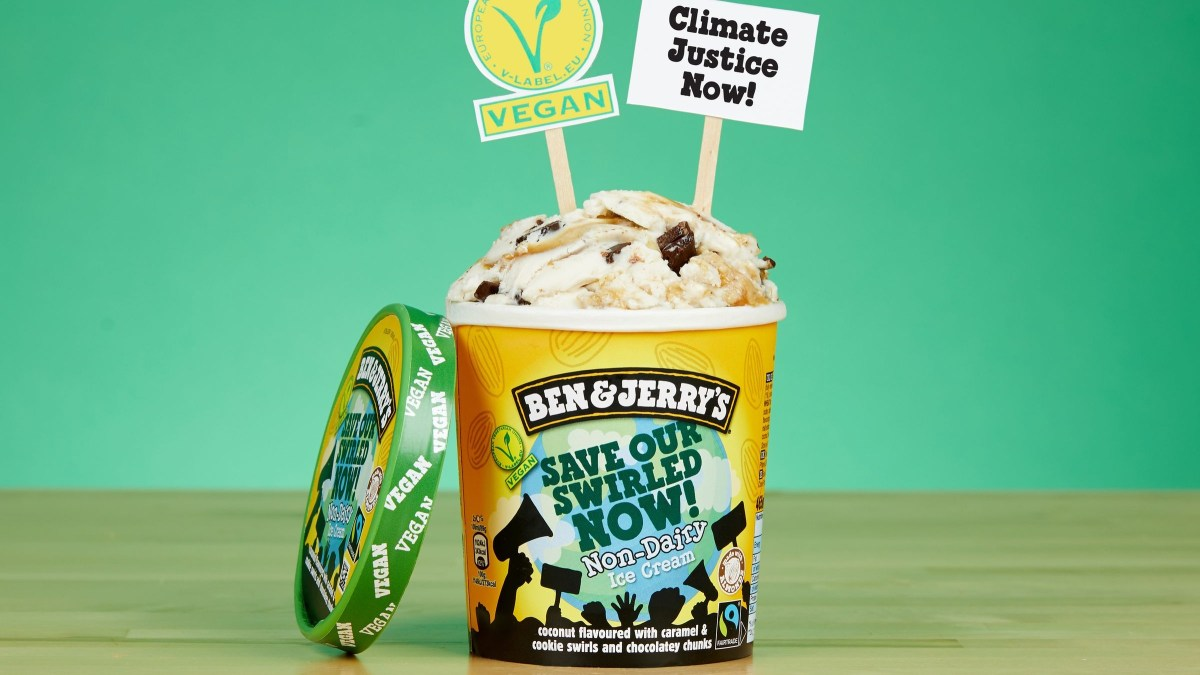 Ben & Jerry's have released a new vegan ice cream flavor and are urging customers to sign a declaration calling the UK government to improve efforts to help climate change emission targets.