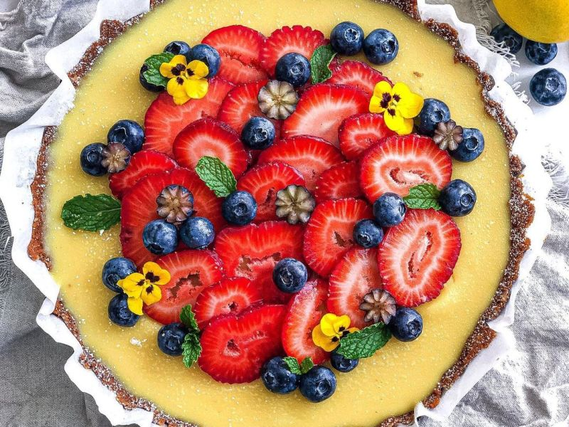 Gluten Free Vegan Lemon Tart with Fresh Strawberries