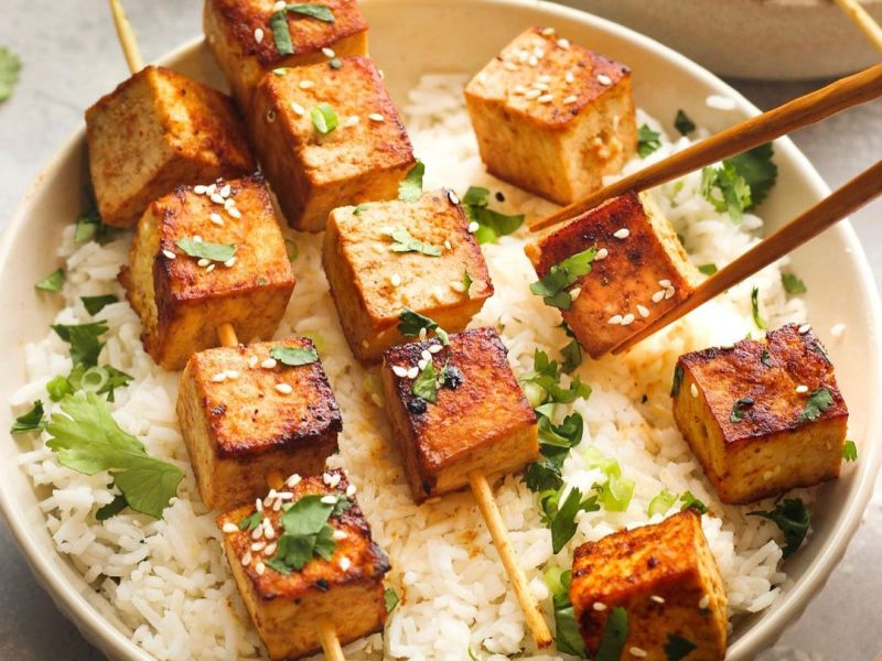 Tofu Skewers with Spicy Peanut Sauce