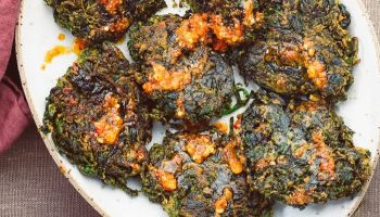 Spinach Fritters With Chilli & Garlic Oil