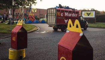 Protestors are blockading McDonald's UK burger factory, urging the chain to go plant-based