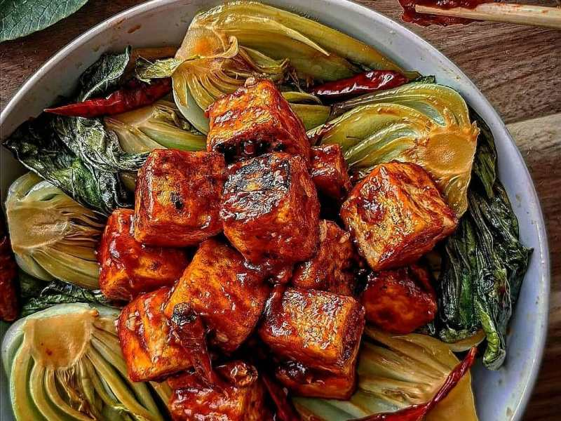 Sweet & Sour Tofu & Tangy Asian Greens