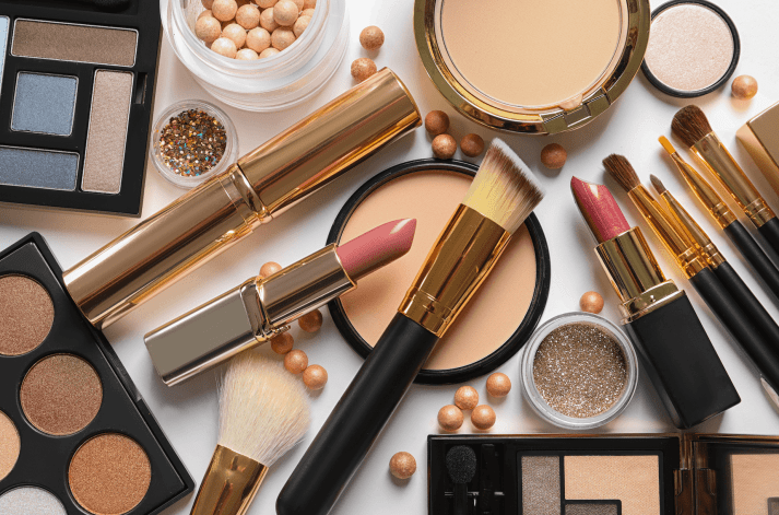 various cosmetics and makeup products on a table