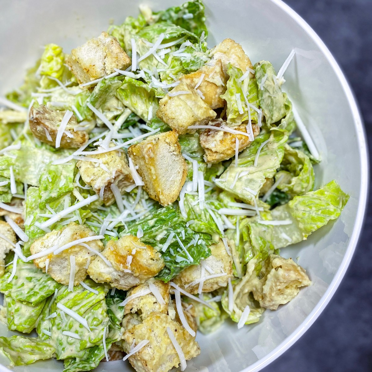 caesar salad with homemade croutons and dressing