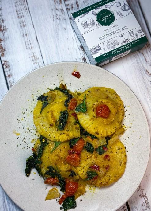 Vegan cheese stuffed ravioli