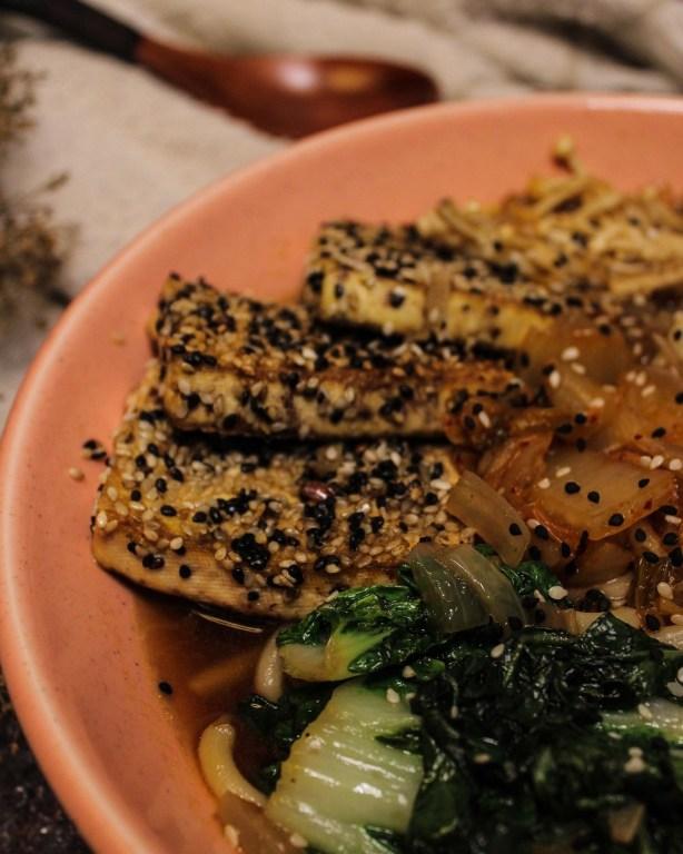 Enoki mushroom udon bowl with sesame tofu