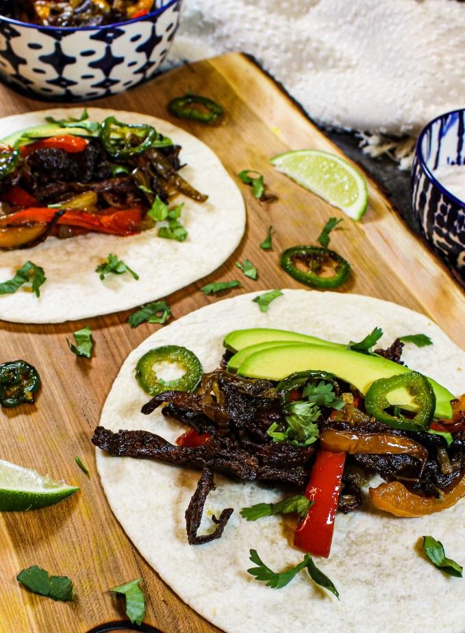 Mushroom vegan fajita filling on tortilla wraps