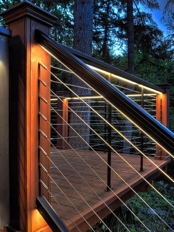 27 Outdoor Step Lighting Ideas That Will Amaze You | Half Moon Wood Steps | Wooden | Hexagon | Diy | Outside Corner Deck | Exterior