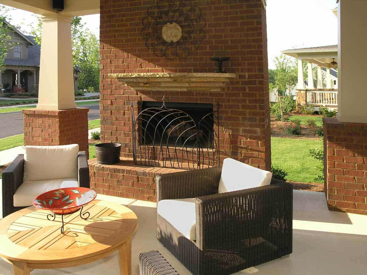 10 Outstanding Ideas For Covered Terraces on Simple Outdoor Brick Fireplace id=23208