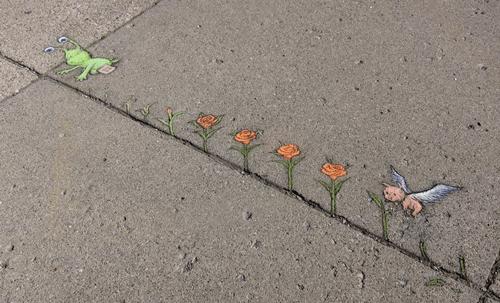 Street artist David Zinn's work