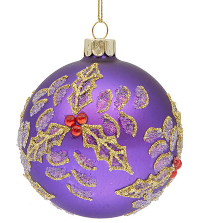 Purple holly leaved bauble