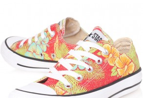 Red Chuck Taylor Floral Low Trainers