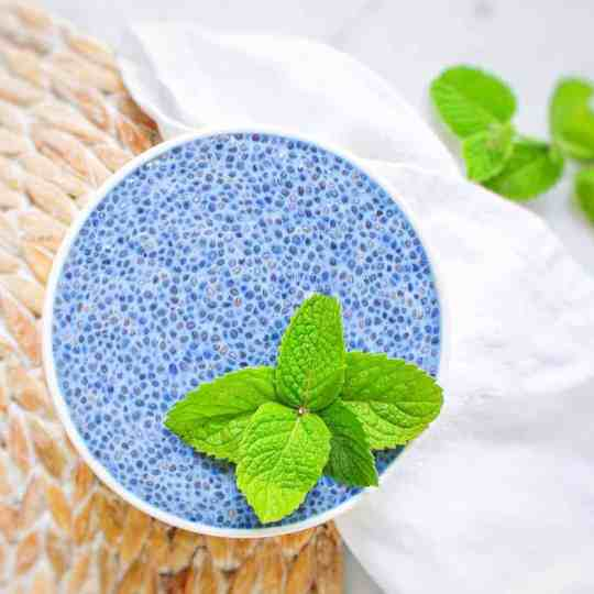 White bowl filled with bright blue chia seed pudding and garnished with bright green mint.