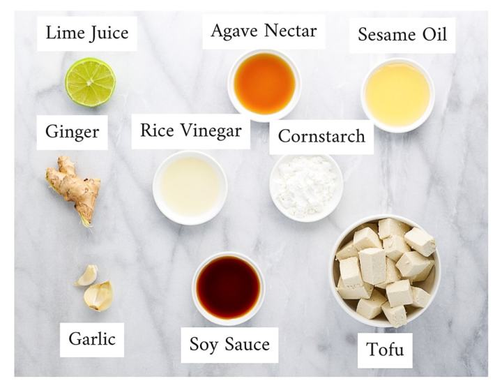 Labeled ingredients for sesame tofu