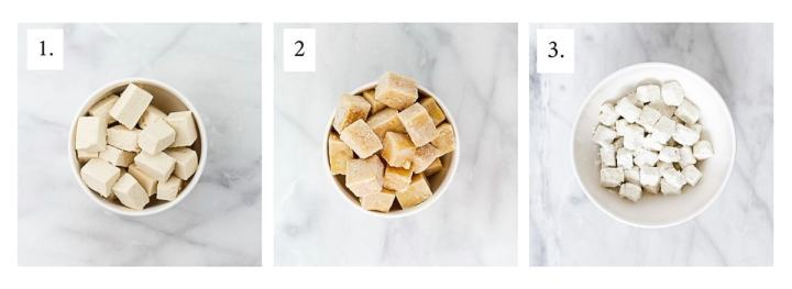 Picture of three bowls of tofu, one cut up, one frozen, and one coated in cornstarch.