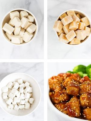 Set of 4 pictures. Cut blocks of tofu, frozen blocks of tofu, blocks of tofu coated in cornstarch, finished tofu with sesame glaze on it.