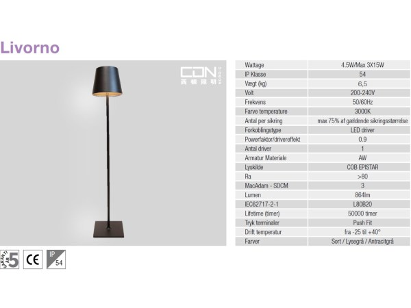 Livorno gulvlampe sort detaljer