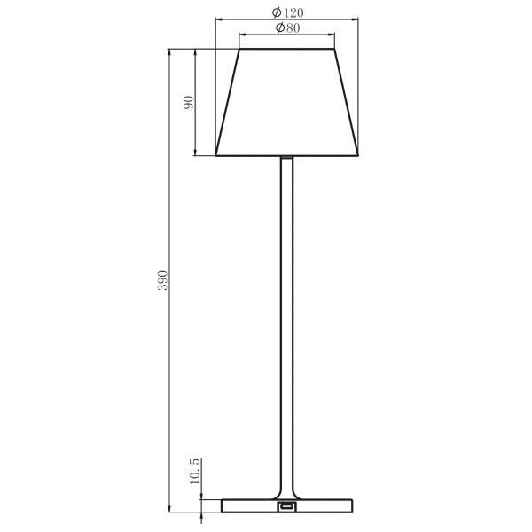 Tegning af trådløs bordlampe