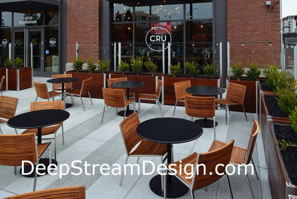 Click for more info on Movable Commercial Wooden Ipe restaurant planters with glass screen wall windbreak