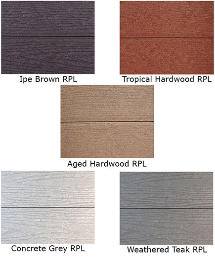 5 standard wood grain recycled plastic lumber colors, click on picture for more information on recycled plastic lumber
