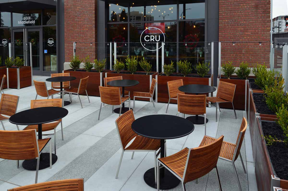 DeepStream's large commercial wood planter anchor glass screen wall for a fine dining restaurant that adds space for social distancing together, limiting access, blocking wind and noise extending the outdoor season