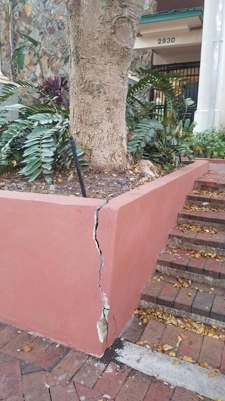Major structural failure of a poured in place concrete planter