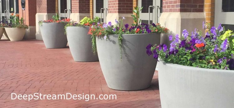 Click for more infor on DeepStream Downtown Commercial Fiberglass and GFRC Concrete Planters by Tornesole Siteworks