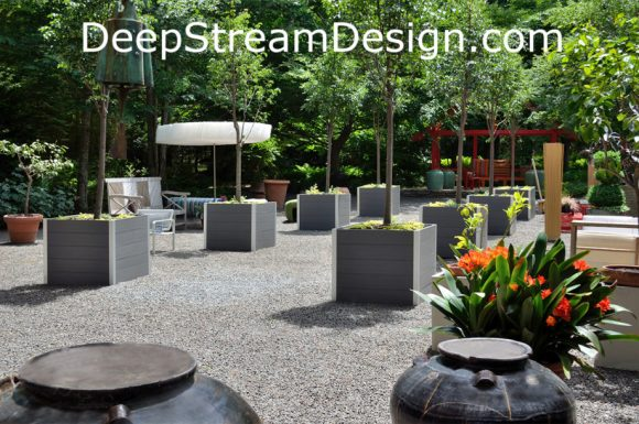 DeepStream's Large square Commercial Wood Planters for Treesuse maintenance free recycled plastic lumber inside thier aluminum frames