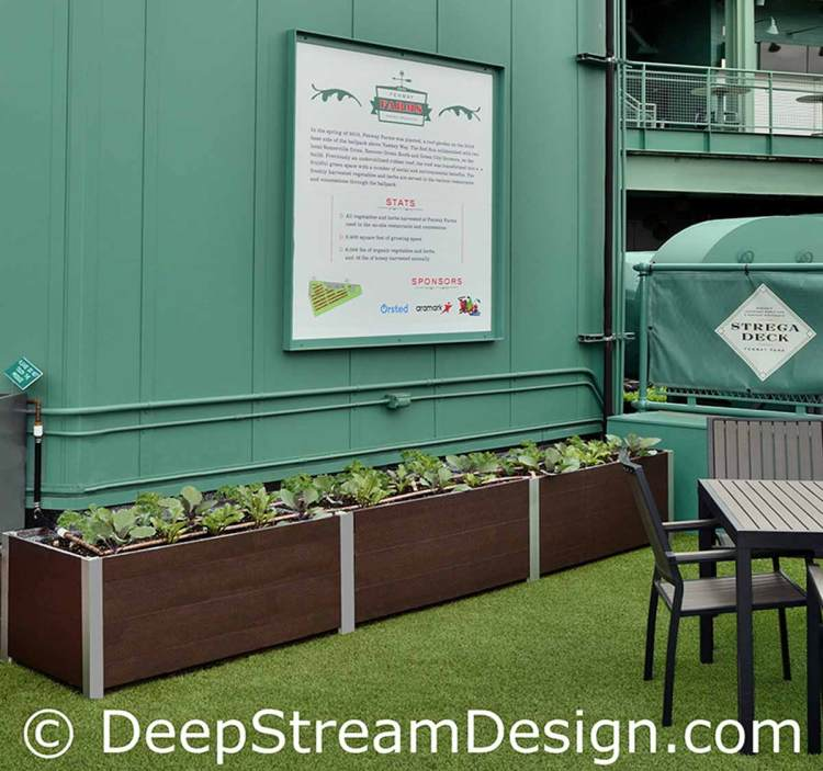 DeepStream Commercial Wood Planter in Recycled Plastic Lumber create a farm to table roof top garden at Boston's Fenway Park Strega Deck