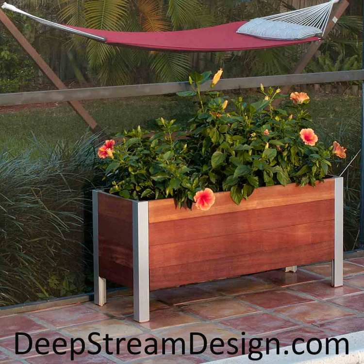 Click for more information on DeepStream's Mariner Commercial Wood planter with hidden aluminum frame