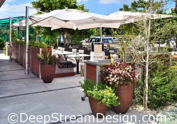 Click for more info on DeepStream movable commercial planter walls create a upscale outdoor restaurant