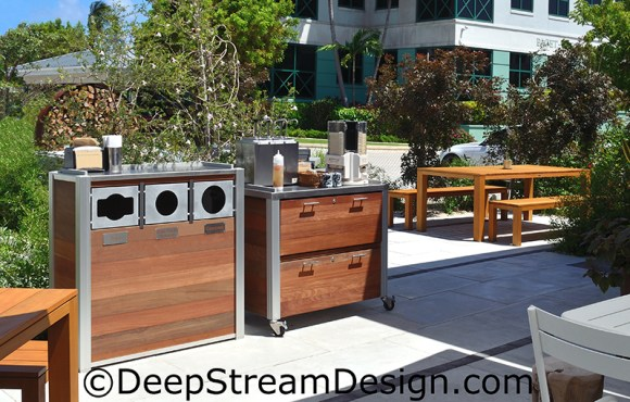 Click for more info on Custom Restaurant Fixtures, exterior grade cabinetry with drawers along with a combination trash and recycling receptacle  set the tone for this high end restaurants outdoor dining space.