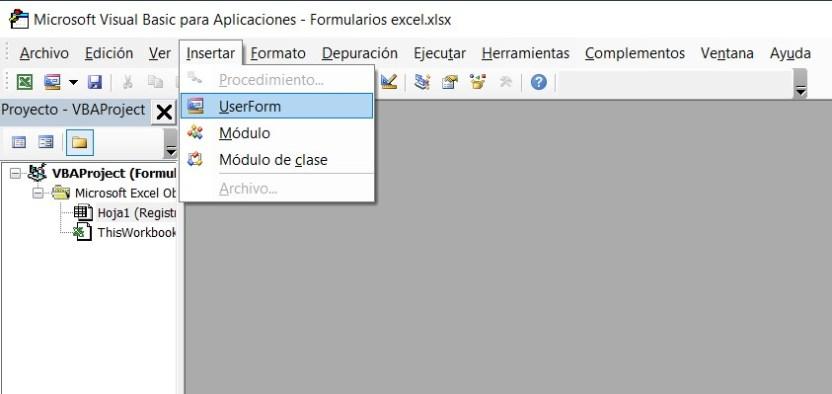Insertar UserForm en Excel
