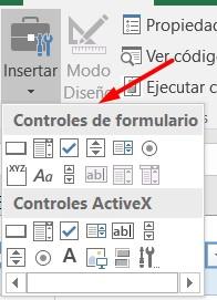 Opción de insertar en la pestaña de desarrollador de Excel