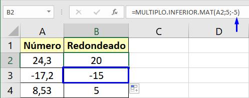 Esta función para redondear en Excel usa un múltiplo de 5 cambiando el sentido de los números negativos
