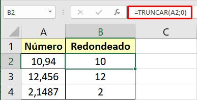 Usa la función TRUNCAR para redondear en Excel sin decimales