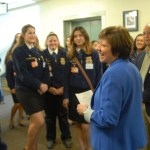 Members of the Elk Grove-Pleasant Grove FFA, Woodland FFA, and Woodland Pioneer FFA delivered flowers to CDFA for Ag Day and spent a few minutes discussing the future of agriculture with Secretary Ross.