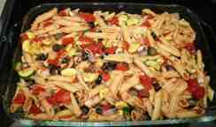 Vegan baked ziti preparation