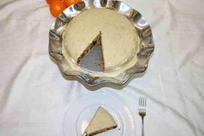 Almond Chocolate Chip Cake with Orange Vanilla Icing