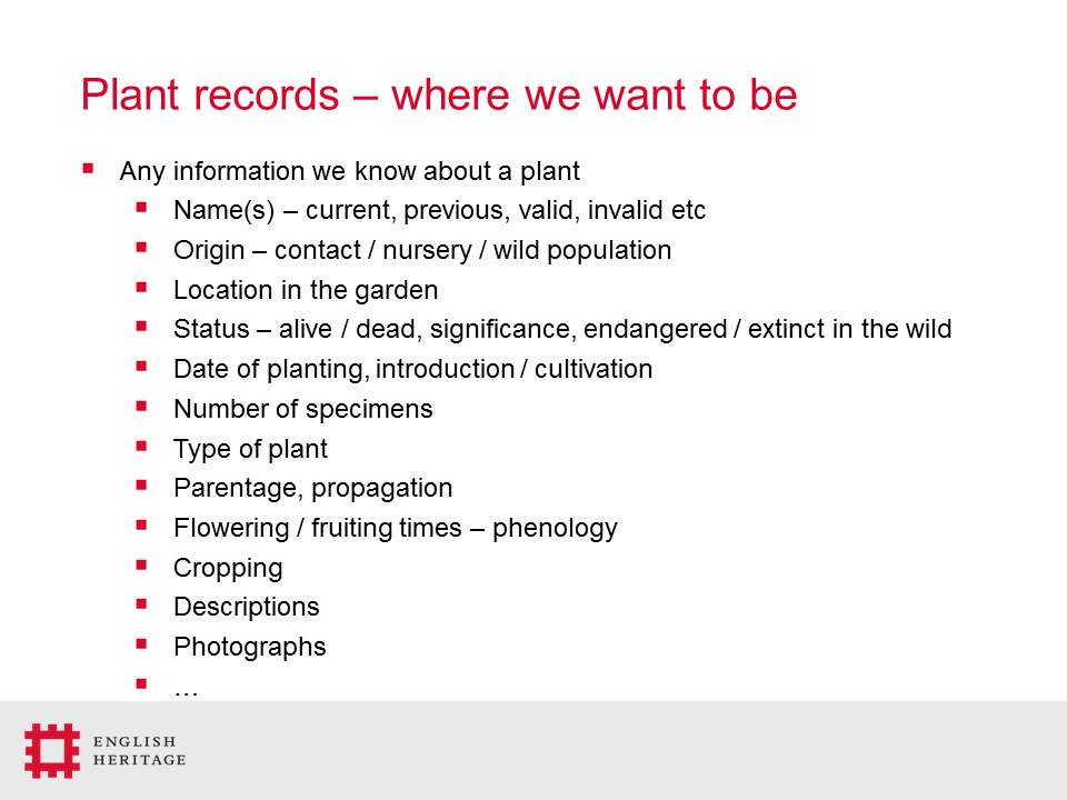 The English Heritage Plant Collection: what is recorded, how