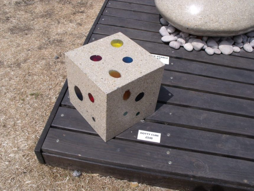 polished concrete dice