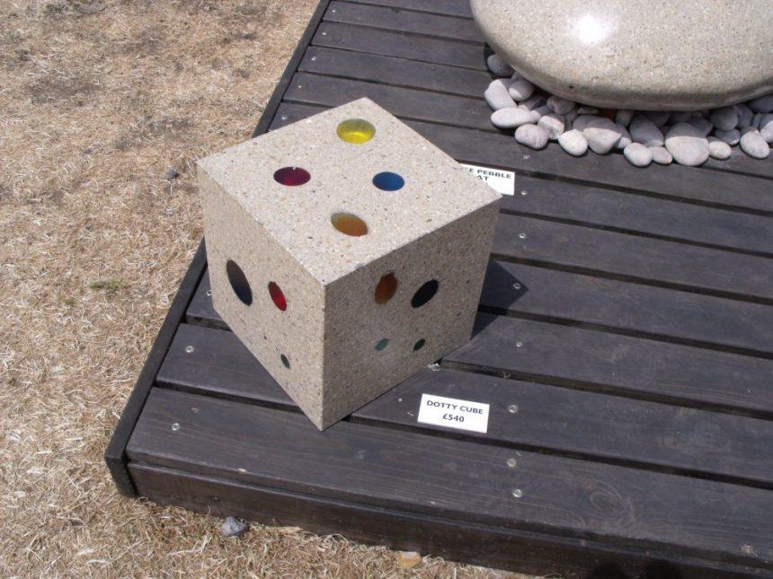 polished concrete dice