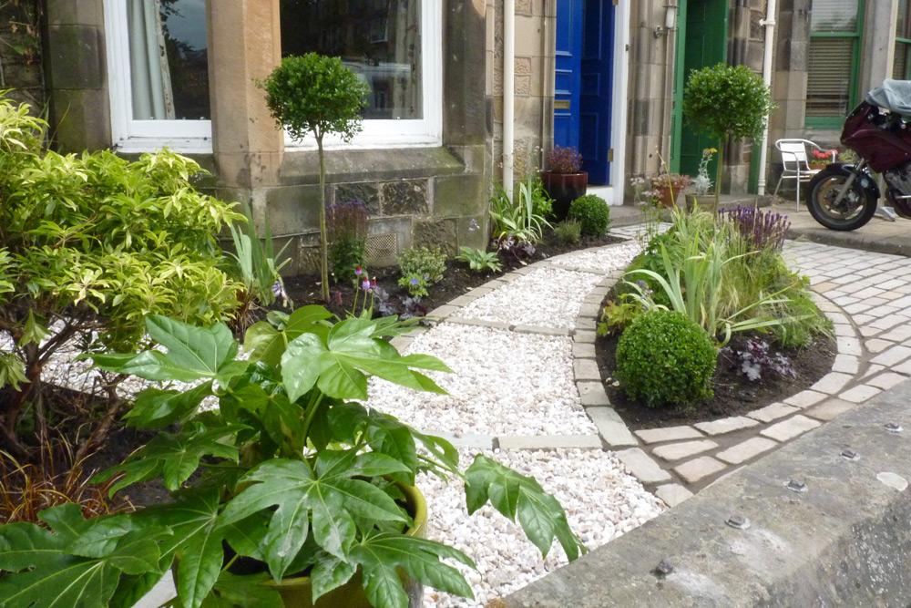 front garden assymtric path design evergreen planting modern style