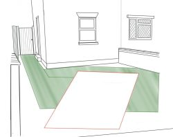 drawing of front garden showing how much space is needed for a car to park and the access space needed around it.